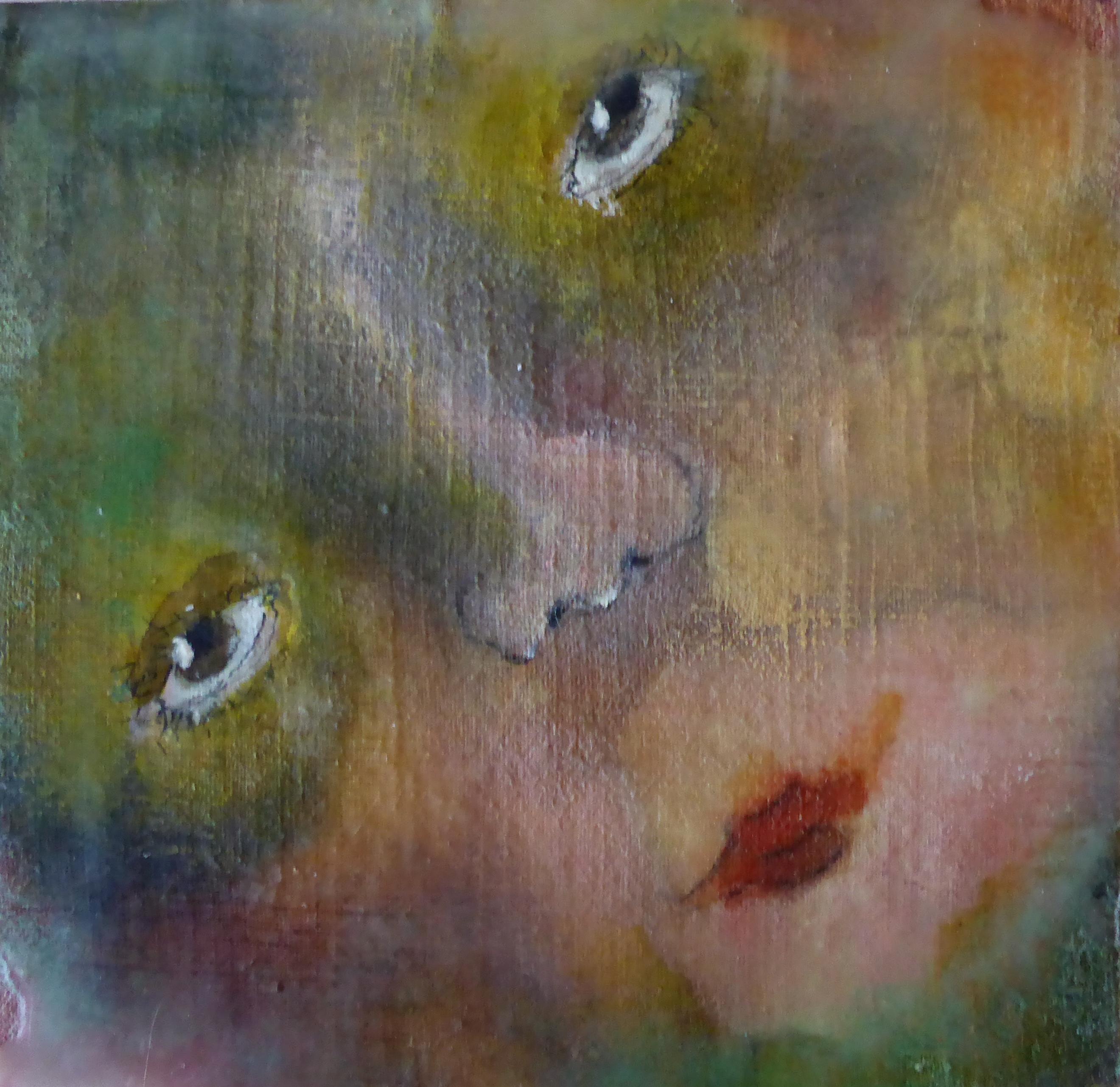 Portret 5 * Acryl, was en olie op linnen   13x13
