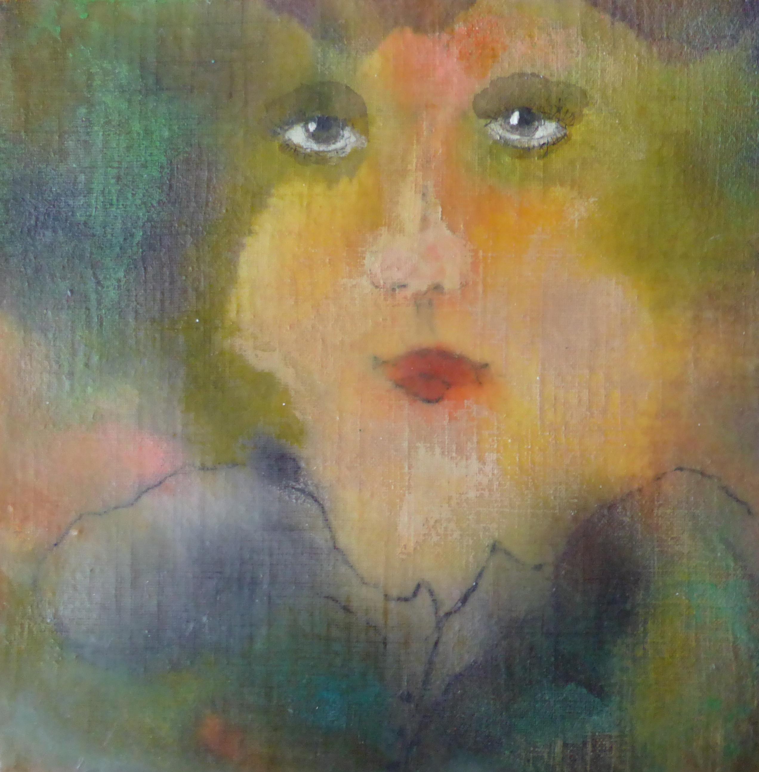 Portret 4 * Acryl, was en olie op linnen   21x21