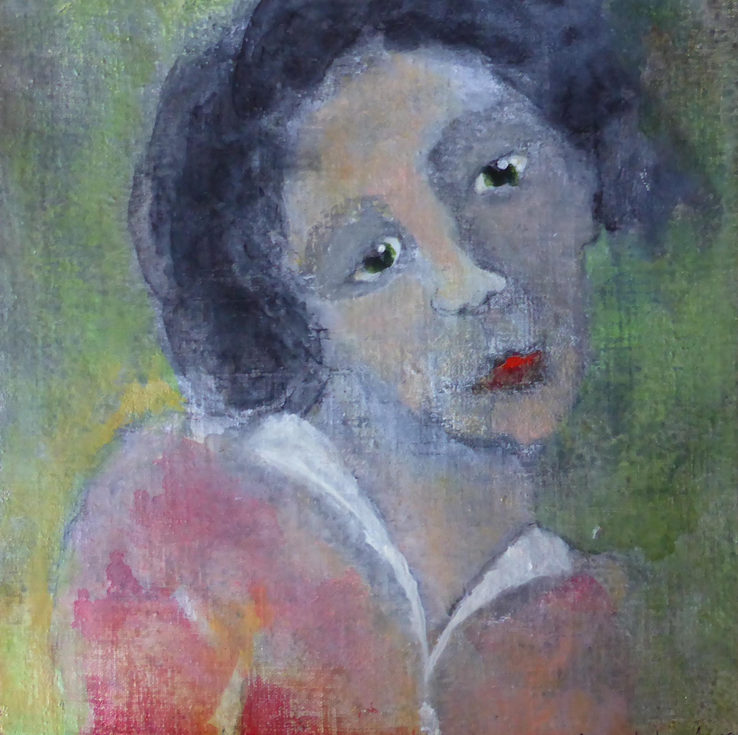 Portret 8 * Acryl, was en olie op linnen | 25x25