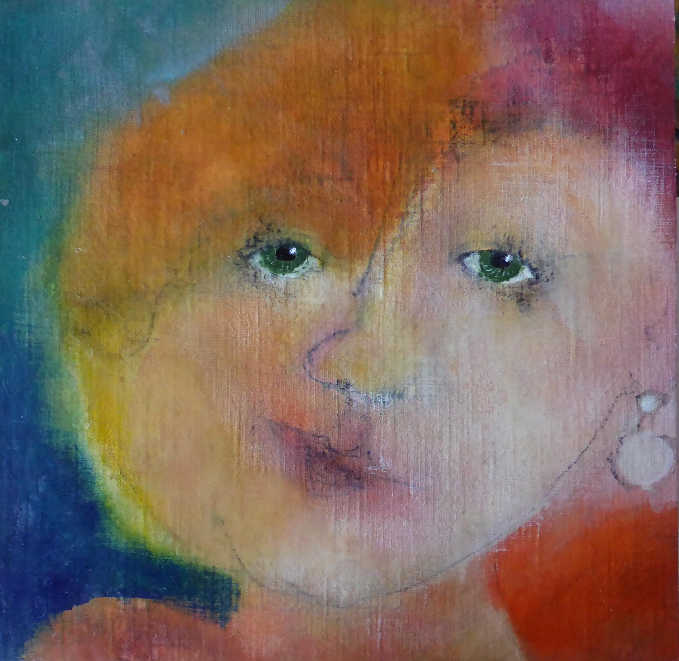 Portret 2 * Acryl, was en olie op linnen | 30x30