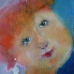 Portret 1 * Acryl, was en olie op linnen | 30x30
