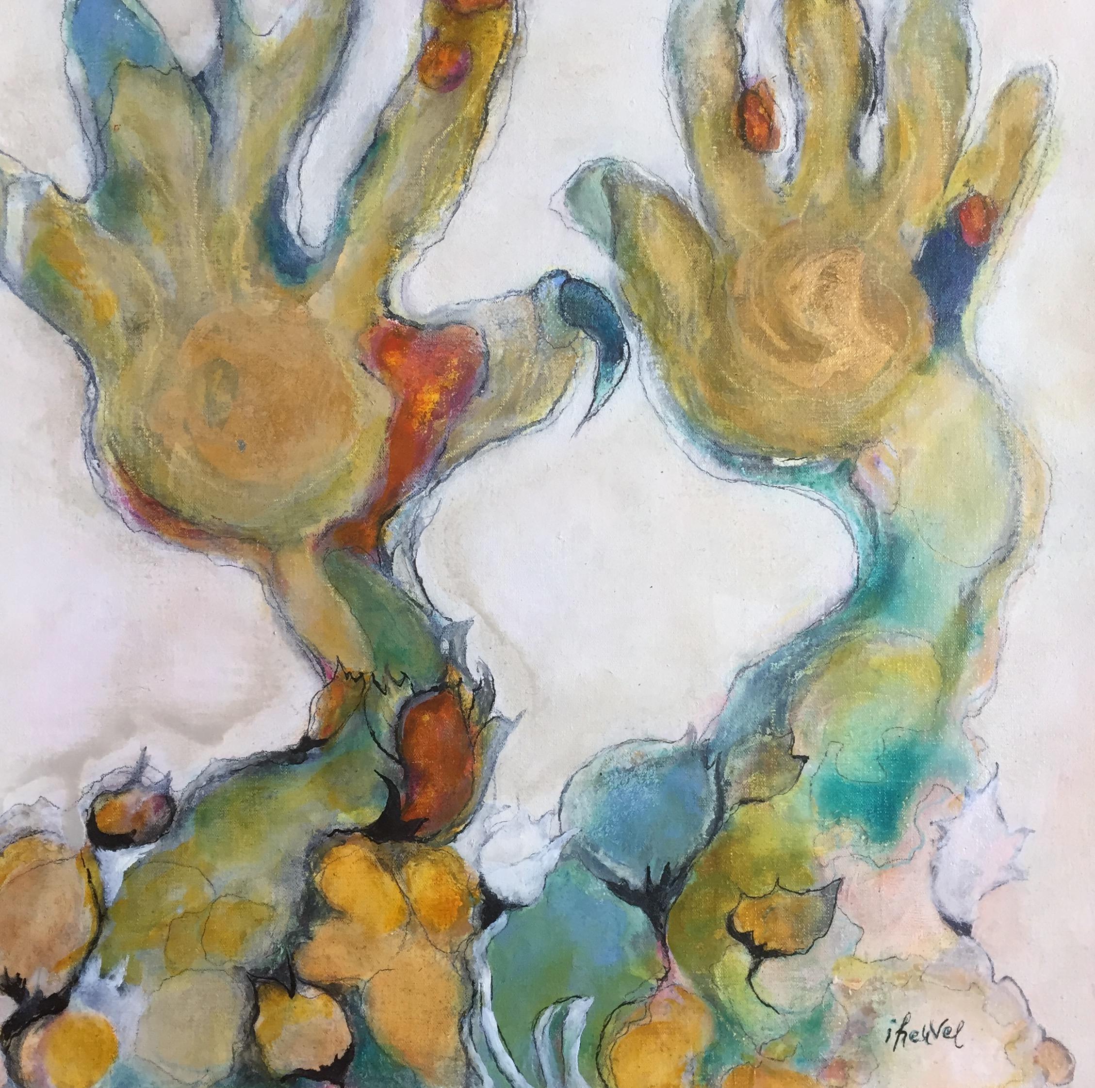 38 Helende handen * Houtskool en olie op linnen | 41x41